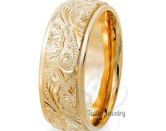 Hand Engraved Gold Wedding Bands,Hand Engraved Gold Wedding Rings,Two Tone Gold Wedding Bands,8mm 10K 14K 18K Yellow Gold Mens Wedding Rings