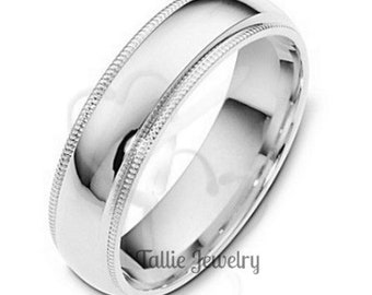 6mm 14K Solid White Gold Wedding Bands, Shiny Finish Milgrain Mens and Womens Wedding Rings, Gold Wedding Band