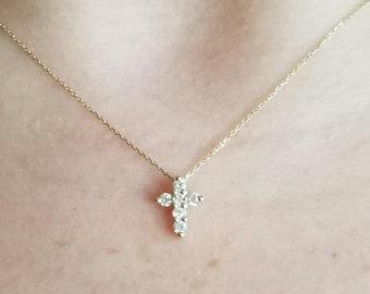 Diamond Cross Necklace, 14K Solid Gold Diamond Cross Necklace, Small Diamond Cross Necklace, Dainty Religious Cross Necklace, Mini Cross