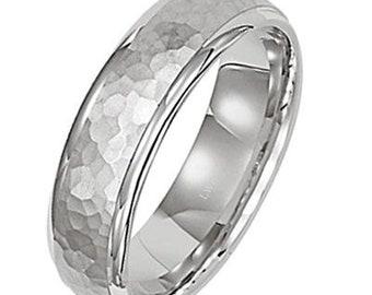 Mens Platinum Wedding Band ,Hammered Finish Platinum Mens Wedding Rings , Platinum Mens Wedding Bands