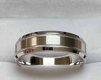 Platinum Mens Wedding Band ,  Platinum Mens Wedding Ring, , Milgrain  Beveled Edge Satin Finish Platinum Wedding Bands