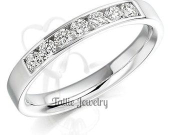 Diamond Eternity Ring, Diamond Eternity Wedding Band, 14K White Gold Diamond Wedding Band, Channel Setting Womens Diamond Wedding Ring