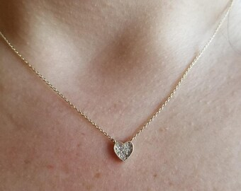 Diamond Heart Necklace / 14K Gold Diamond Heart Necklace / Dainty Heart Necklace / Solid Yellow Gold Small Heart Necklace