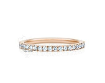 Diamond Eternity Wedding Bands / Diamond Eternity Rings / 14K Gold Womens Diamond Wedding Bands / Stacking Thin Diamond Wedding Ring