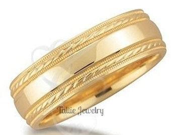 Yellow Gold Mens Wedding Band,  Milgrain Mens Wedding Ring, 10K 14K 18K Solid Gold Wedding Bands
