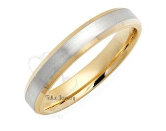 14K Two Tone Gold Wedding Bands, Satin Finish Beveled Edge Mens and Womens Wedding Rings