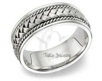 Platinum Wedding Band for Men, Platinum Braided Mens Wedding Ring, Platinum Wedding Bands