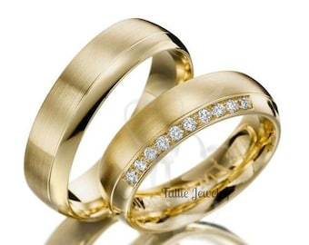 His & Hers Wedding Rings, Matching Wedding Bands, Diamond Wedding Rings, 10K 14K 18K Solid Yellow Gold Wedding Bands, Couple Wedding Rings