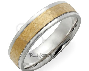 94dd456e4ec37a Two Tone Gold Wedding Bands,6mm,10K 14K 18K White and Yellow Gold Mens
