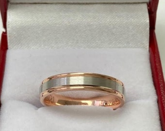 Rings for Men, Rings for Women, Two Tone Wedding Band, 4mm 10K 14K 18K Solid White and Rose Gold Wedding Bands, Two Tone Ring