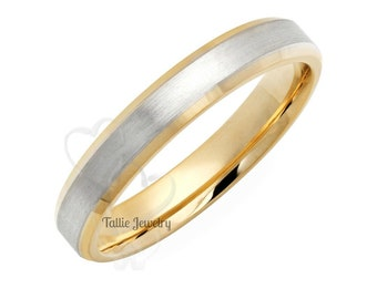 Platinum & 18K Yellow Gold Mens Wedding Band, Two Tone Gold Mens Wedding Ring, Two Tone Gold Wedding Bands ,Platinum Wedding Rings