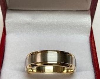 18K Solid Yellow Gold and Platinum Wedding Band, Platinum Wedding Ring, Satin Finish  Mens Wedding Bands, 950 Platinum Band