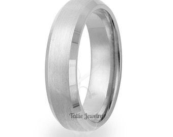 950 Platinum Mens Ring,  6mm Satin Finish Beveled Edge Platinum Mens Band , Platinum Wedding Rings, Platinum Wedding Bands