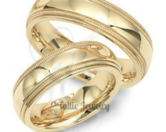 His & Hers Wedding Rings, Matching Wedding Bands, 10K 14K 18K Yellow Gold Mens Womens Wedding Rings, Yellow Gold Wedding Bands