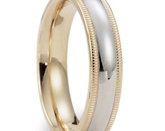 Two Tone Gold Wedding Bands, 5mm 10K 14K 18K Solid White and Yellow Gold Mens and Womens Wedding Rings, Two Tone Wedding Bands