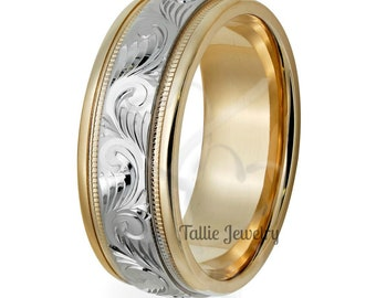 Hand Engraved Mens Wedding Bands, Two Tone Gold Wedding Bands, 7mm 10K 14K 18K White and Yellow Gold Mens Wedding Rings, Hand Engraved Band