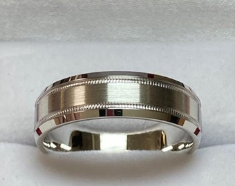 6mm 10K 14K 18K Solid White Gold Mens Wedding Band , Milgrain Beveled Edge Satin Finish Mens Wedding Ring