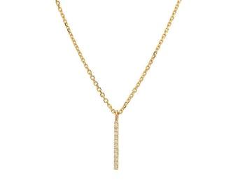 Diamond Bar Necklace / 14K Gold Diamond Bar Necklace / Dainty Bar Necklace