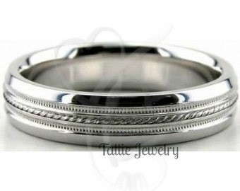 Platinum Wedding Band,  Platinum Wedding Ring, Platinum Mens Womens  Wedding Rings,  4mm Milgrain Platinum Band