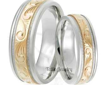 Hand Engraved Wedding Bands, Hand Engraved Wedding Rings,Two Tone Gold Wedding Bands, 14K White and Yellow Gold His & Hers Wedding Rings