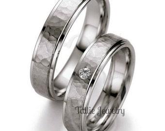His & Hers Platinum Wedding Bands, Platinum Matching Wedding Rings, Hammered Finish Platinum Wedding Bands, Platinum Diamond Wedding Rings