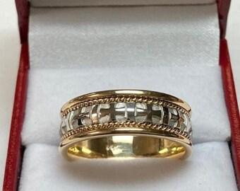 Mens Platinum Wedding Band, Platinum Mens Wedding Ring, 18K Solid Yellow Gold & Platinum Wedding Band,  Handmade Braided Wedding Ring