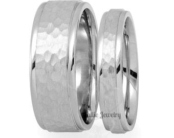 Platinum Matching Wedding Bands, His & Hers Platinum Wedding Rings, Platinum Hammered Finish Wedding Bands, Platinum Wedding Rings