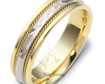 Platinum & 18K Yellow Gold Mens Wedding Band, Platinum Braided Mens Wedding Ring