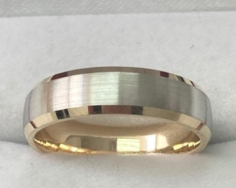 Two Tone Gold Mens Wedding Rings, 5mm 10K 14K 18K White and Yellow Gold Mens Wedding Bands, Beveled Edge Mens Wedding Rings, Two Tone Rings