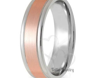 Two Tone Gold Wedding Bands,6mm,10K 14K White and Rose Gold Beveled Edge Mens Wedding Rings,Matching Wedding Bands,His & Hers Wedding Rings
