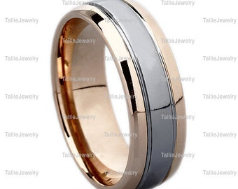 Two Tone Gold Wedding Bands, 6mm 10K 14K Solid White and Rose Gold Mens Wedding Rings, Matching Wedding Bands, His & Hers Wedding Rings