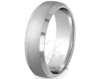 Platinum Wedding Band,  Platinum Wedding Ring , 7mm Satin Finish Beveled Edge 950 Platinum Mens Wedding Bands