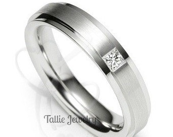 5mm,10K,14K,18K Solid White Gold Mens Wedding Bands,  Mens Diamond Wedding Rings, Matching Wedding Bands, His & Hers Wedding Rings