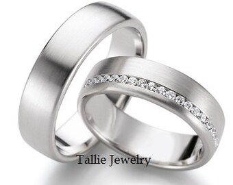 His & Hers Wedding Rings, 10K 14K 18K White Gold Diamond Wedding Bands, Matching Wedding Rings Set, His and Hers Wedding Bands