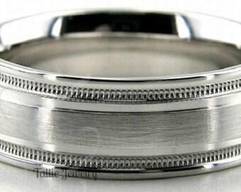 Platinum Wedding Band,  Platinum Wedding Ring , 7mm Satin Finish Milgrain 950 Platinum Mens Wedding Bands