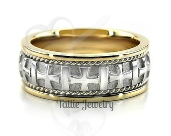 Platinum & 18K Yellow Gold Mens Wedding Bands, Platinum Mens Wedding Rings , Two Tone Gold Wedding Bands
