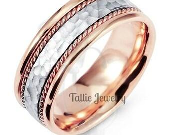 Platinum Hammered Finish Mens Wedding Ring, Braided Mens Wedding Band, Platinum & 14K Rose Gold Wedding Rings