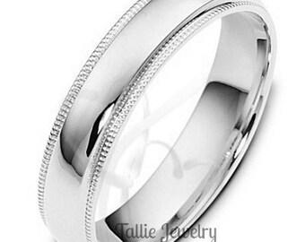 14K Solid White Gold Wedding Bands,  Milgrain Mens and Womens Wedding Ring,  Shiny Finish Mens Wedding Band