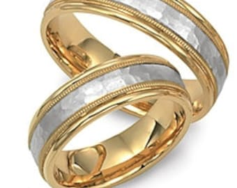 Platinum & 18K Yellow Gold Hammered Finish Wedding Rings Set,His and Hers Wedding Bands, Matching Wedding Rings, Platinum Wedding Bands