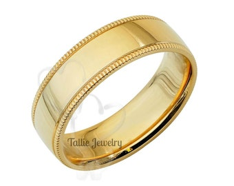 Mens Yellow Gold Wedding Bands, Flat Shiny Finish Milgrain Mens Wedding Rings, 6mm 10K 14K 18K Solid Yellow Gold Wedding Band, Rings for Men
