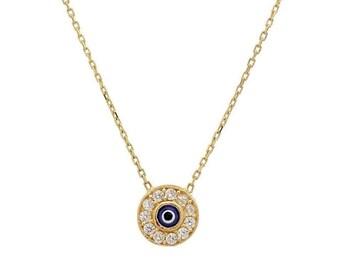 Evil Eye Necklace / 14K Solid Yellow Gold Evil Eye Necklace / Dainty Evil Eye Necklace