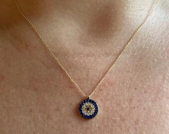 14K Solid Yellow Gold Evil Eye Necklace, Dainty Evil Eye Necklace, Good Luck Necklace, Protection Necklace, Evil Eye Necklace