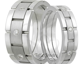 10K 14K 18K Solid White Gold Diamond Wedding Bands, Diamond Wedding Rings, Matching Wedding Bands, His & Hers Wedding Rings