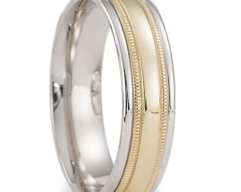 Two Tone Gold Wedding Bands, 6mm,10K 14K 18K White and Yellow Gold Mens Wedding Rings, Matching Wedding Bands, His & Hers Wedding Rings