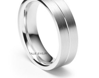 Mens White Gold Wedding Bands, Satin Finish Mens Wedding Rings, 6mm 10K 14K 18K Solid White Gold Mens Wedding Bands