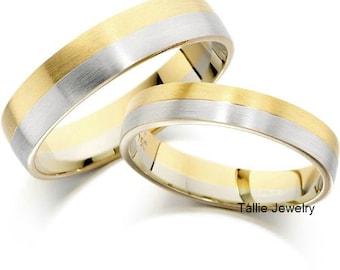 His and Hers Wedding Bands, Matching Wedding Rings,10K 14K 18K White & Yellow Gold Wedding Bands,Couple Wedding Rings,Two Tone Wedding Bands