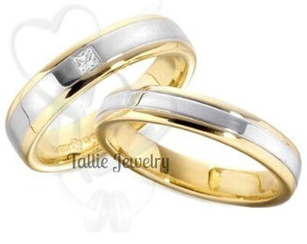 Platinum & 18K Yellow Gold Wedding Bands, His and Hers Wedding Rings, Matching Wedding Bands,Platinum Princess Cut Diamond Wedding Rings Set
