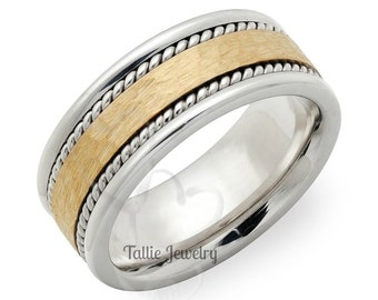 Two Tone Gold Wedding Bands, 8mm 10K 14K 18K Solid White and Yellow Gold Mens Wedding Bands, Hammered Finish Braided Mens Wedding Rings