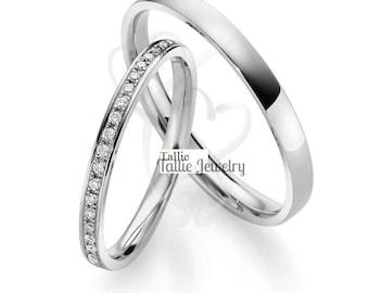 Platinum Diamond Eternity Wedding Bands, His and Hers Wedding Rings, Matching Wedding Bands, Platinum Diamond Wedding Rings Set