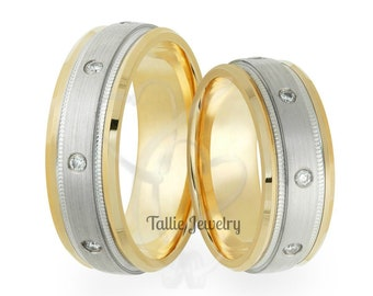 His & Hers Wedding Rings, Matching Wedding Bands, 10K 14K 18K White and Yellow Gold Diamond Wedding Rings, Two Tone Gold Wedding Bands